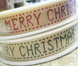 Merry Christmas Printed Vintage Style Ribbon, 20m