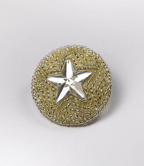 56L Silver Beaded Star Button, 10pcs