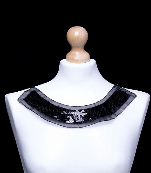 Black Sequined Neckline