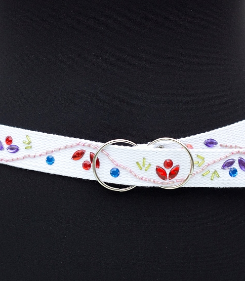 Decorated White Webbing Belt