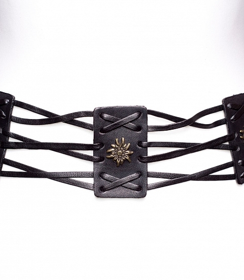 Black Faux Leather Tie Belt