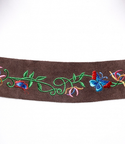 Embroidery Brown Tie Belt