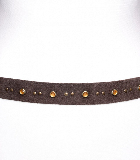 Dark Brown Suede Tie Belt 2