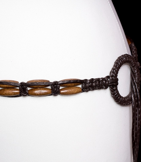 Brown Faux Leather Tie Belt