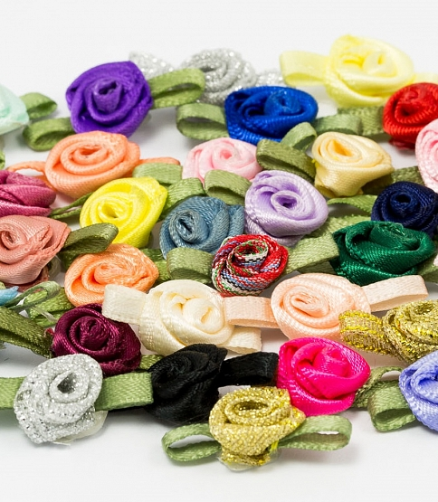 Small Ribbon Roses, 100pcs