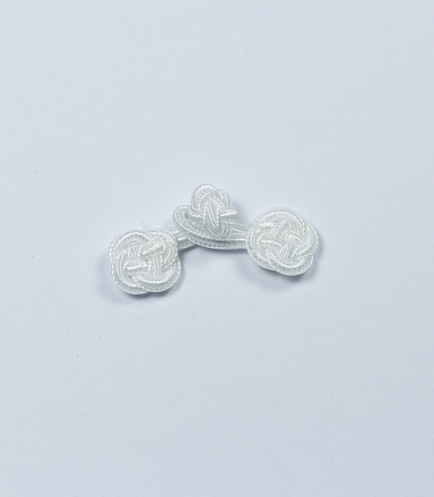 Small White Braided Frog Fasteners, 10 Pairs