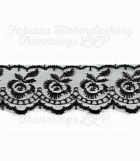 1½ inch Black Embroidered Lace, 27.4m