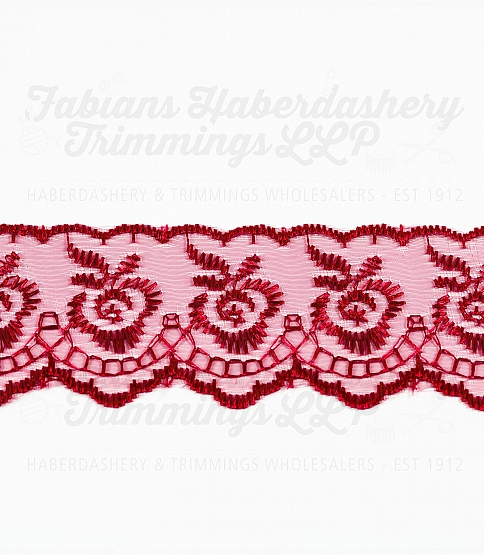 1½ inch Burgundy Embroidered Lace, 27.4m