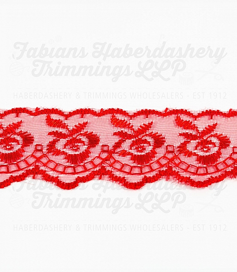 1½ inch Red Embroidered Lace, 27.4m