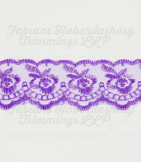1½ inch Lilac Embroidered Lace, 27.4m