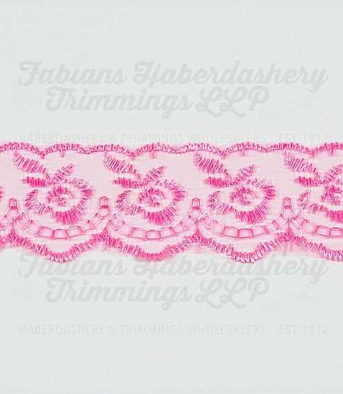 1½ inch Hot Pink Embroidered Lace, 27.4m