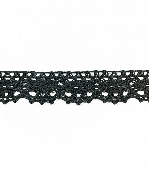 3cm Black Scalloped Crochet Lace, 25m