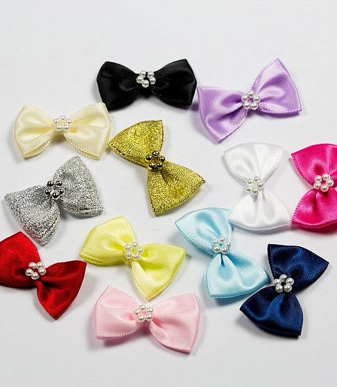 Pearl Satin Bows, 100pcs