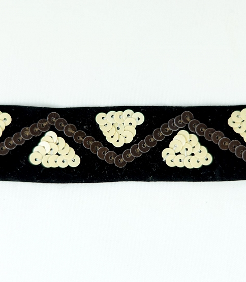 Black Sequined Velvet Ribbon, 5m