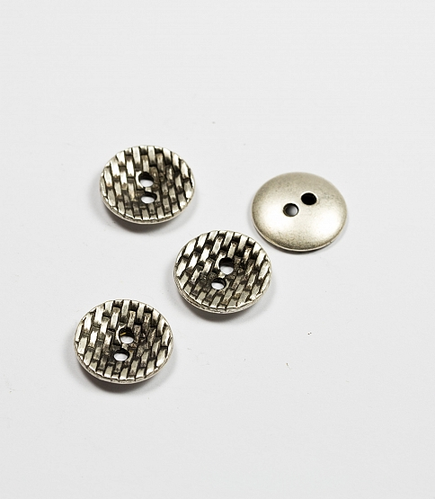 2-Hole Cruved Textured Metal Button, 25pcs