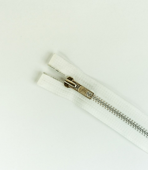No.5 Silver Teeth Open End Zip (WHT)