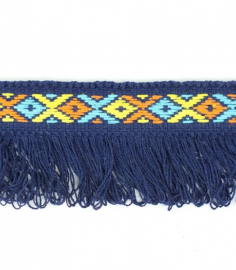 30mm Navy Blue Jacquard Fringe, 25m