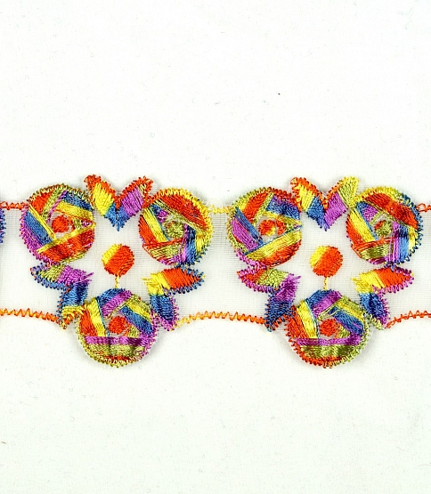 5cm Multi-Coloured Embroidery Trim, 15m