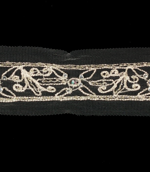 Silver Embroidered Net Trim (Rhinestones), 10m