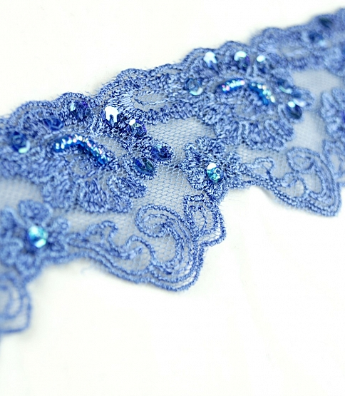 Blue Scalloped Embroidery Trim, 13m