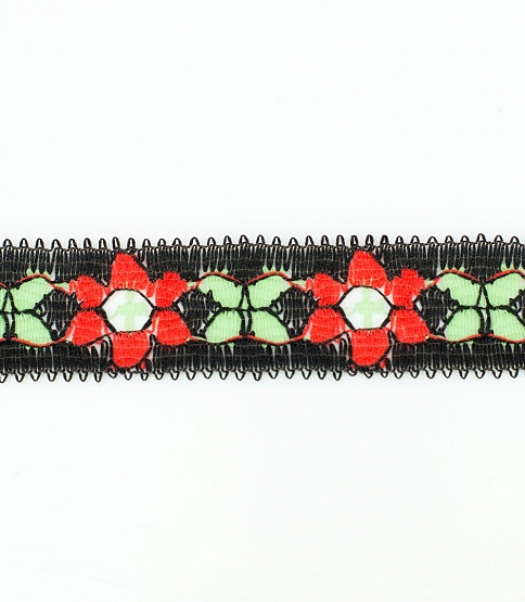 Red & Black Floral Lace, 300m