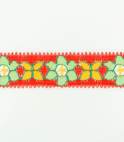 Red & Green Floral Lace, 300m